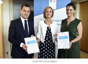 Hélène CROCQUEVIEILLE, chef du CGefi avec Marlène SCHIAPPA et Gérald DARMANIN