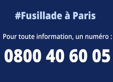 #Fusillade à Paris pour toute information un numéro : 0800 40 60 05