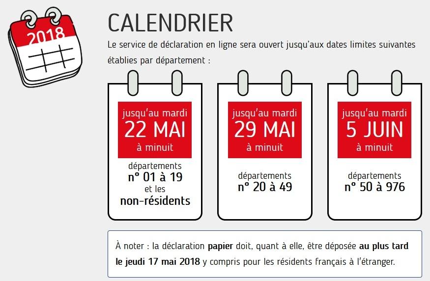 Déclaration des revenus : le calendrier 2018