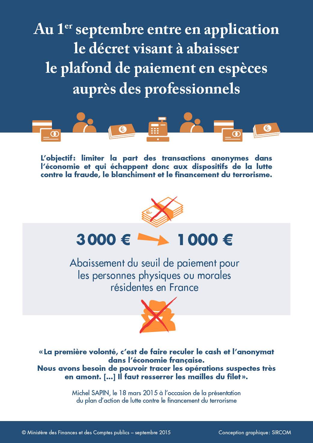 les transactions en esp ces limit es 1 000 euros depuis le 1er septembre 2015 le portail des. Black Bedroom Furniture Sets. Home Design Ideas