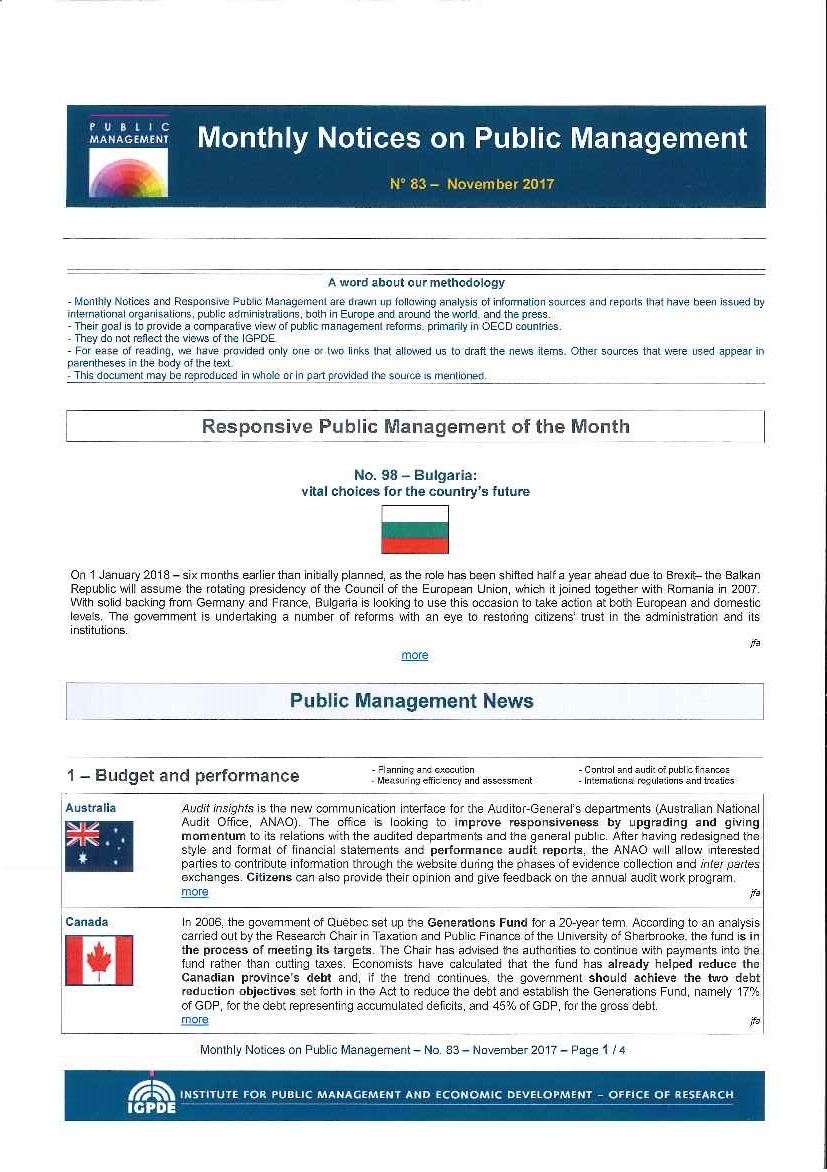 Monthly notices on public management