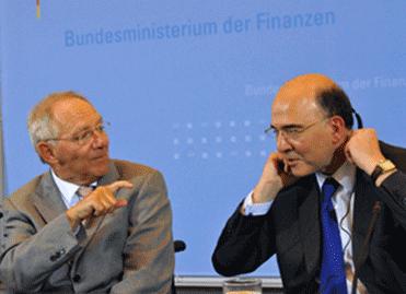 Pierre Moscovici et Wolfgang Schäuble - crédit photo Mélodie Fenez