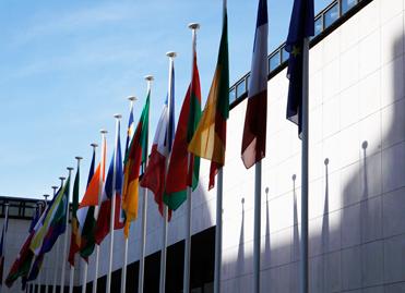 Cour d'honneur du ministère pavoisée des drapeaux des pays de la Zone franc